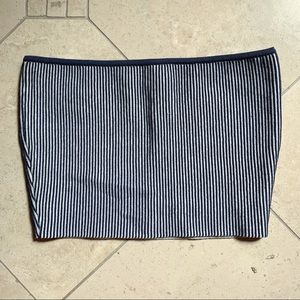 PacSun Navy & White Striped Cropped Tube Top
